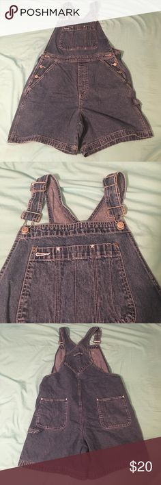 GAP overalls shorts Cute denim overalls, the shorts would be super cute rolled up! I'm open to offers and feel free to ask for any additional pictures or information GAP Shorts Jean Shorts