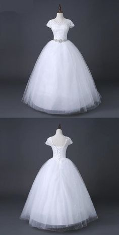 Scoop Neck Cap Sleeves A Line Tulle Lace Wedding Dresses With Crystals Perfect Wedding Dress, Wedding Dress Styles, Dream Wedding Dresses, Wedding Gowns, Lace Wedding, Backless Wedding, Inexpensive Wedding Dresses, Affordable Bridesmaid Dresses, Prom Dresses Online