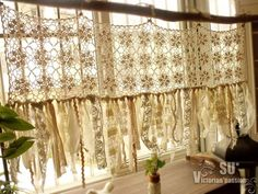 Custom Vintage Hippie Valance - Boho HANDmade crochet curtain window treatments shabby cream chic tassel rag gypsy - Wow … so beautiful ! This shabby bohemian hippie chic curtain shows French farmhouse, sheer ele - Cortinas Shabby Chic, Shabby Chic Zimmer, Shabby Chic Vintage, Muebles Shabby Chic, Romantic Shabby Chic, Shabby Chic Style, Boho Chic, Bedroom Vintage, Shabby Chic Valance