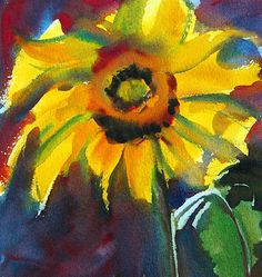 Sunflower Watercolor. Archival Print. on Etsy, $18.00