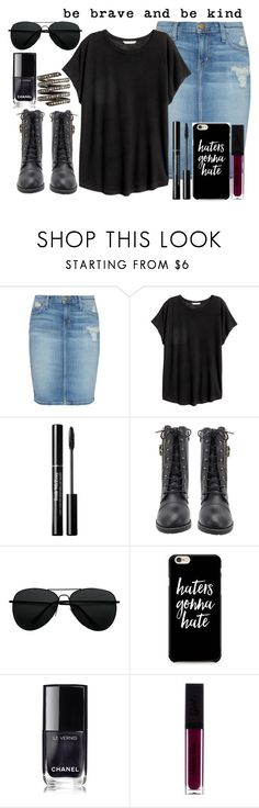 """be brave and be kind..."" by missbeth1897 ❤ liked on Polyvore featuring Current/Elliott, H&M, Chanel and Lynn Ban"