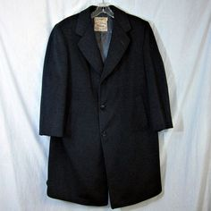Cashmere Strachan West of England Vtg 1952 Tailored 3 Button Coat Dark Gray…