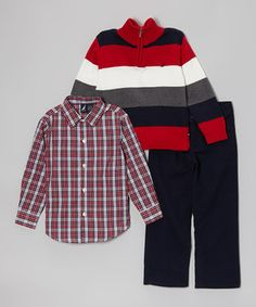 This smart set has everything a boy needs to look sharp no matter the occasion. It combines a classic button-up with a striking striped pullover and soft cotton-blend pants to achieve the ultimate casually cool look.