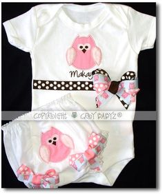 WHO ME Boutique Set Owl Baby Bodysuit with Applique by Crybabyz, $54.95