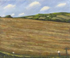 Gary Bunt - The Footpath Oil on canvas 30x36 in Poppies in a cornfield Clouds up in the sky Along a path Up on the downs A man and dog walk by