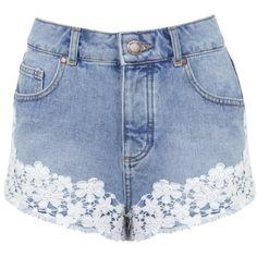 Miss Selfridge Floral Crochet Denim Short (23 CAD) ❤ liked on Polyvore featuring shorts, bottoms, short, pants, mid wash denim, high-waisted shorts, denim shorts, short shorts, high rise denim shorts and short jean shorts