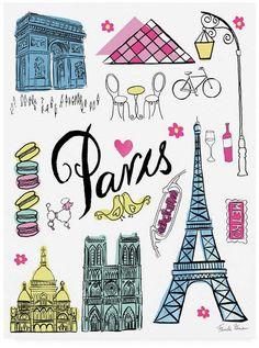 Farida Zaman Travel Paris White Canvas Art - 27 x Cute Teen Rooms, Paris Home Decor, Watercolor Illustration, Paris Illustration, White Canvas Art, Paris Images, Outdoor School, Paris Theme, Furniture For Small Spaces