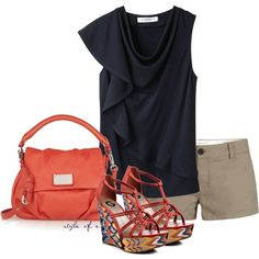 """Navy and Bold Coral"" by styleofe on Polyvore -- different look for my Country Road navy cowl top"
