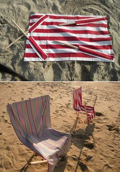 Make your own sand chair out of a towel and broomsticks. | 33 DIY Ways To Have The Best Summer Ever