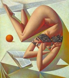 Woman Reading Book With Orange - Georgy Kurasov