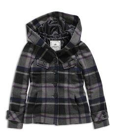 Another great find on #zulily! Black & Dark Gray Plaid Hooded Jacket by TIMEOUT #zulilyfinds