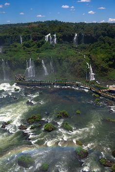 Rainbow, falls, tourists by dtra, Iguazu Falls, Brazil via Flickr