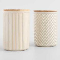 Cost Plus World Market Large Natural Textured Ceramic Canisters with Lids Set of 2 Spice Storage Containers, Storage Canisters, Kitchen Canisters, Food Storage, Lp Storage, Record Storage, Kitchen Ware, Kitchen Utensils, Kitchen Appliances