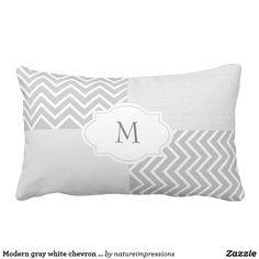 Modern gray white chevron burlap family monogram lumbar pillow