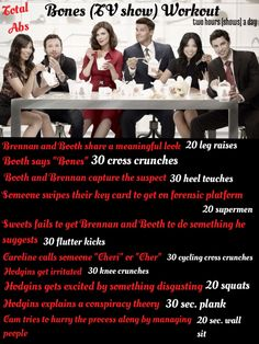 Bones tv show workout! :) I would lose so much weight this way :p Tv Workout Games, Tv Show Workouts, Easy Workouts, Workout Ideas, Fitness Tips, Fitness Motivation, Health Fitness, Bones Tv Show, I Work Out