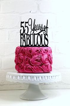 Birthday Cake Topper 55 Years Of Fabulous 55th Decoration