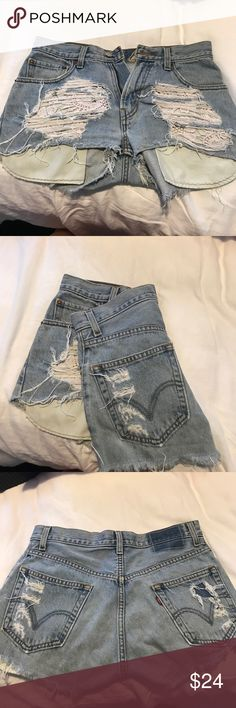 Furst of a Kind Denim Shorts First of a Kind denim shorts with white/light pink lace pocket detail  Definitely have been worn — but have lots of wear left in them   White lace pockets have a tint of pink in them   Not sure actual size but would fit a 25/26   Open to reasonable offers! Bundle for discount LF Shorts Jean Shorts