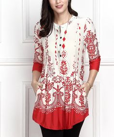 Look what I found on #zulily! White & Red Border Button-Front Side-Pocket Tunic - Plus #zulilyfinds