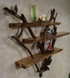 30 Sensible DIY Driftwood Decor Ideas That Will Transform Your Home diy home decor projects 2019 - Diy Home Decor Driftwood Shelf, Driftwood Furniture, Driftwood Projects, Diy Furniture, Driftwood Ideas, Painted Driftwood, Driftwood Mobile, Diy Projects, Painted Wood