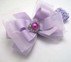 Easter Handmade Lavender Boutique Hair Bow Headband Included - Baby, Toddler, Girls and Women