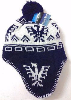 Men/Women CHULLO POM-BEANIE Winter Ski Knit Peruvian Geometric Phoenix Bird NAVY #PolarWear #Beanie