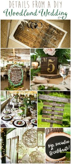 Elements from a stunningly beautiful enchanted forest DIY woodland wedding. Great ideas here for a woodland themed bridal or baby shower!