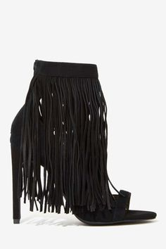black fringed heel