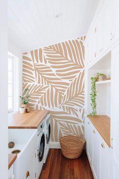 Modern Wallpaper, Accent Wallpaper, Leaves Wallpaper, Wallpaper For Walls, Home Wallpaper, Custom Wallpaper, Laundry Room Wallpaper, Kitchen Wallpaper Vinyl, Home Interior