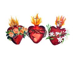 The Hearts of the Holy Family, Sacred Heart of Jesus, Immaculate Heart of Mary, Pure Heart of Joseph, Chaste Heart of Joseph Catholic Art, Religious Art, Jesus Jose Y Maria, Sacred Heart Tattoos, Prayers To Mary, Joseph, Catholic Pictures, Jesus Painting, Mary And Jesus