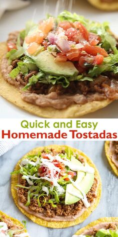 One of my go-to dinners when I need something QUICK and easy is homemade Tostadas made with ground beef (or shredded chicken or pork) refried beans and cheese. Theyre so fresh and tasty and a meal that everyone gets excited for. Good Healthy Recipes, Healthy Dinner Recipes, Mexican Food Recipes, Beef Recipes, Vegetarian Recipes, Cooking Recipes, Quick Lunch Recipes, Mexican Desserts, Mexican Cooking