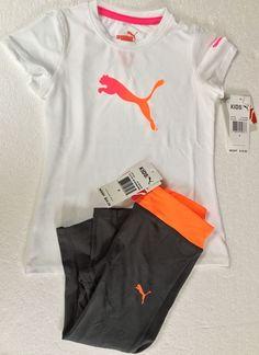 1db39cfd7c0a Puma Girl s 2 piece Outfit  Short Sleeve Shirt   Capri Leggings Size 4  Pink Oran  PUMA  Everyday