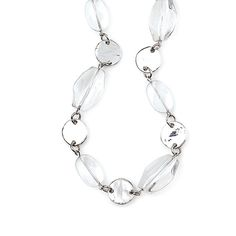 "-CLEARLY CLASSIC- ""Shimmering silver discs mingled with clear, beads create an airy look for a delicate addition to any outfit as a bracelet, necklace or anything else you can imagine."" http://LMAWBY.mialisia.com"