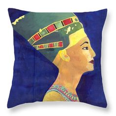"Nefertiti  Throw Pillow by Mohamed Allam.  Our throw pillows are made from 100% spun polyester poplin fabric and add a stylish statement to any room.  Pillows are available in sizes from 14"" x 14"" up to 26"" x 26"".  Each pillow is printed on both sides (same image) and includes a concealed zipper and removable insert (if selected) for easy cleaning."