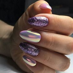 Amazing nail designs ideas you may find them on almond-shaped nails, semicircular, long nails, in form of soft oval or square or in even pointed shape Cute Acrylic Nail Designs, Cute Acrylic Nails, Glitter Nails, Cute Nails, Pretty Nails, Nail Art Designs, My Nails, Purple Nail Art, Gel Nagel Design