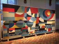 Jan Schoonhoven Linoleum intarsia oorspronkelijk voor studentenflat in Delft