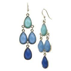 Dangle Earrings - Silver/Blue. Great match for blue scarves!