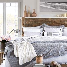 Lexington Bedspread Grey | Coastal bedroom theme | Houseology