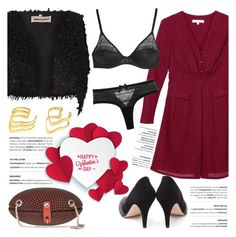 """""""Happy Valentine's Day"""" by kreateurs ❤ liked on Polyvore featuring rings, reddress, blackpumps, valentinesday and kreauters"""