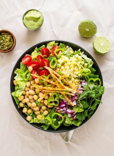 SOUTHWEST CHICKPEA SALAD + CREAMY AVOCADO-LIME DRESSING... Another quick n' easy chickpea salad! Makes for great to-go lunches as well...