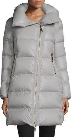 #Moncler Joinville Long Asymmetric Puffer Jacket #몽클레어 #롱패딩