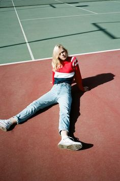 Sweater: red sweater, striped sweater, straight jeans, white sneakers, le coq sportif, 90s style - Wheretoget