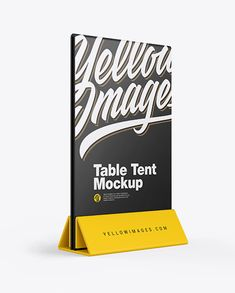 Plastic Table Tent Mockup in Outdoor Advertising Mockups on Yellow Images Object Mockups Table Tents, Billboard Signs, Plastic Tables, Flag Stand, Table Signs, Mockup Templates, Phone Mockup, Glass Table, Creative Words