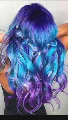 Cute Hair Colors, Pretty Hair Color, Bright Hair Colors, Hair Color Purple, Hair Dye Colors, Bright Colored Hair, Rainbow Hair Colors, Colorful Hair, Brown Ombre Hair