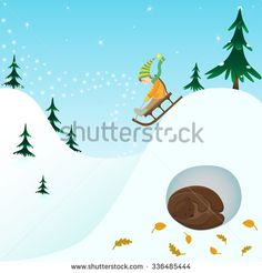 Winter illustration. Little dwarf rides on a sled in the snow. The bear sleeps in a den. Kids cartoon card.
