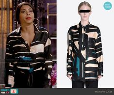 Cookie's black and cream abstract print blouse on Empire Cookie Lyon, Empire Style, Abstract Print, Printed Blouse, Work Outfits, Fashion Forward, Fiction, Celebrity, Street Style