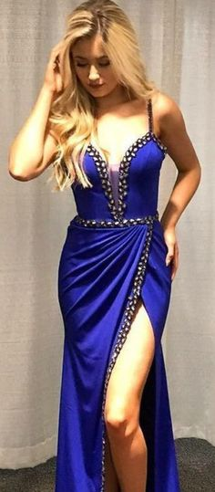 Sheath Spaghetti Straps Royal Blue Satin Prom by olesaweddingdresses, $137.88 USD Classy Prom Dresses, Royal Blue Prom Dresses, Prom Dresses For Teens, Beautiful Prom Dresses, Prom Party Dresses, Sexy Dresses, Evening Dresses, Bridesmaid Dresses, Prom Tips