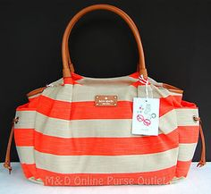 Kate Spade Jubilee Stripe Stevie Baby Diaper Bag Tote ~Coral