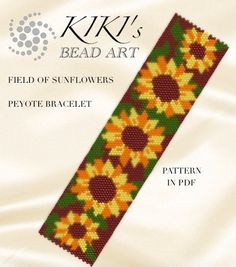 Pattern, peyote bracelet - Field of sunflowers peyote bracelet pattern in PDF - instant download