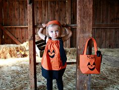 Personalized Pumpkin Face Trick or Treat Bag. $15.00, via Etsy.