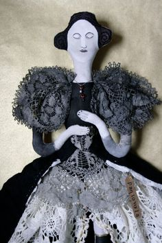Madam Violet collectable textile art doll soft sculpture Gothic Victorian Vampire by pantovola on Etsy